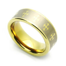 Men 8MM Comfort Fit Tungsten Wedding Band Zirconium Plated Celtic Cross Ring