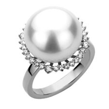 14K White Gold 0.35ct Diamond Halo Luster South Sea Cultured Pearl Ring 16.5mm