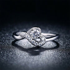 Ladies 925 Sterling Silver Plated CZ Cubic Zircona Inlaid Heart Twist Ring