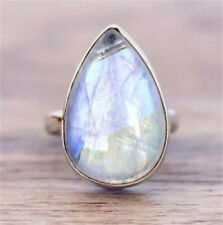 925 Silver Moonstone Women Jewelry Engagement Anniversary Gift Ring Size 6-10