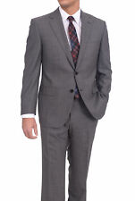 Mens Napoli Classic Fit  Gray Textured Two Button Half Canvassed Wool Suit