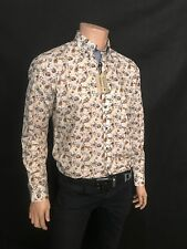 Maddox Street Casual Shirt, Stunning gold/Blue Floral Design, All Sizes, BNWT