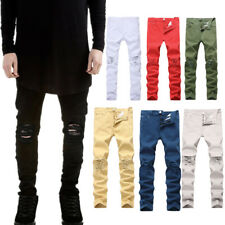 Mens Hot Sale Slim Stretch Denim Jeans Pants Destroyed Ripped Skinny Trousers