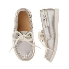 NWT Gymboree Shore to Love Toddler Girls Metallic Silver Boat Shoes 5 6 7