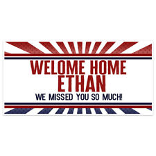 Welcome Home Red Blue Burst Military Banner Party Backdrop