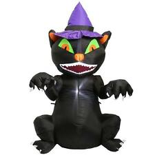 5Ft Gemmy Airblown LED Lighted Sitting Black Cat Halloween Inflatable Yard Prop