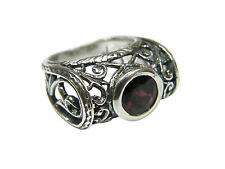 Hand Crafted 925 Sterling Silver SHABLOOL Ring Red Garnet CZ Statement Style