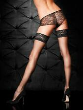 Ann Summers Lace Top Glossy Hold Ups, Black, Sizes XS to XXL