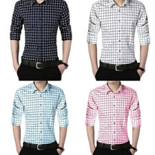 Long sleeves Casual shirt Solid color plaid shirt Men's Shirts 1Pcs