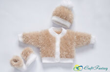 Hand Knitted Baby Eyelash Fluffy Cardigan Hat/Bonnet Booties Set Knit To Order
