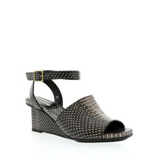 Dries Van Noten Off White-Black Snake Print Leather Ankle Wrap Sandal