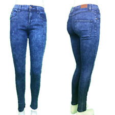 LADIES SUPPER SKINNY JEANS DENIM DARK BLUE  ACID WASH SIZE 6-18