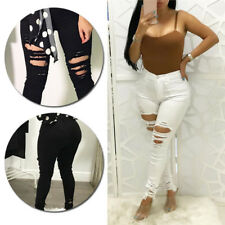 High Waisted Womens Skinny Trousers Jeggings Pencil Pants Stretchy