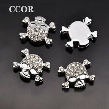 Charming Skull Clear Full Rhinestone Slider Charms Beads Fit 8mm Belt Wristbands