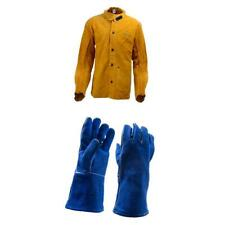Heavy Duty Leather Welding Jacket and Blue 1 Pair of  Gloves