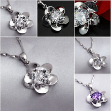 925 Silver Plated Chic Lady Fashion Womens Pendant Necklace Jewelry Flower Charm