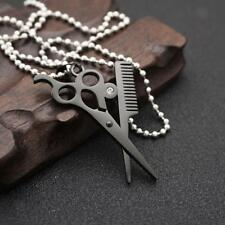 Hip Hop Necklace Scissors Comb Iced Out Crystal Pendant Beads Chain 50cm