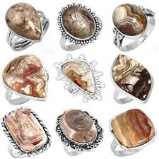 925 Sterling Silver Natural Crazy Lace Agate Ring Size 5 6 7 8 9 10 11 Hr527