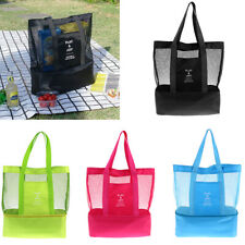 2 in 1 Insulated Cooler Bag Lunch Box Travel BBQ Picnic Bag Mesh Beach Tote