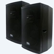 "Pair of Premium Active 15"" Full Range 2-Way Loudspeaker Cabinets - 500W Each NEW"