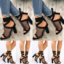 Womens Mode Mesh Block Chunky High Heel Shoes Strappy Peep Toes Summer Sandals
