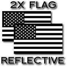 2x REFLECTIVE BLACK USA American Flag Decal 3M Stickers Exterior Various Sizes