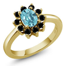 1.53 Ct Oval Blue Zircon Black Diamond 18K Yellow Gold Plated Silver Ring