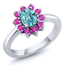 1.70 Ct Oval Blue Zircon Pink Sapphire 925 Sterling Silver Ring