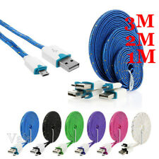 1/2/3M 2A Quick Braided Micro USB 6-Colors Data Sync Charger Charging Cable Lot