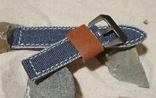 The Military Style Canvas Watch Strap with Brushed Pre-V Buckle Hardware