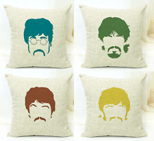 The Beatles Ribbon Faces Retro Pop-Art Music Throw Cushion Pillow Cover Gift Set