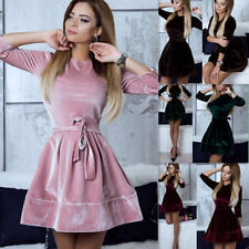Womens Evening Party Cocktail Long Sleeve Velvet Casual Mini Short Skater Dress
