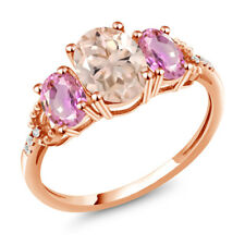 2.14 Ct Oval Peach Morganite Pink Sapphire 10K Rose Gold Diamond Accent Ring