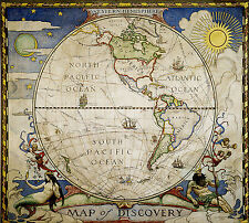 1921 Map Western Hemisphere Map of Discovery Vintage History Wall Poster School