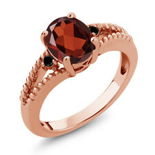 1.85 Ct Oval Red Garnet Black Diamond 18K Rose Gold Plated Silver Ring
