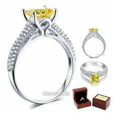 925 Sterling Silver Engagement Ring 1.5 Ct Princess Yellow Canary Lab Diamond