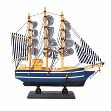 Mediterranean Style Ship Sailing Boat Wooden Home Decoration Collectable Navy