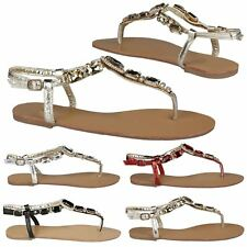 Zola Womens Flats Low Heels Toe Strap Thong Sandals Ladies Gem Style Shoes Size