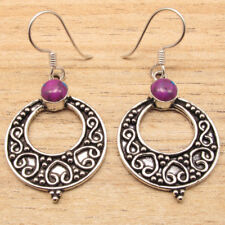 925 Silver Plated Genuine Gemstones Handcrafted DANGLE Earrings Fashion Jewelry