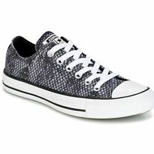Converse Chuck Taylor All Star Ox Black Sharkskin White Womens Canvas Trainers