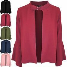 Ladies Womens Plain Buckle Frill Long Sleeve Blazer Open Front Cardigan Coat Top