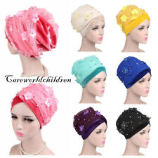 Women Arab Velvet Mesh Flower Cap Headwrap Islamic Turban Hijab Muslim Scarf Hat