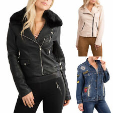 WOMEN'S BIKER STYLE JACKET Waterproof Winter Coat Fur Denim Badge SIZE 8-14
