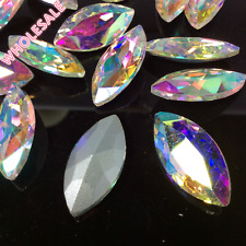Wholesale Navette Marquise Rhinestones Point back Crystal AB Glass Strass U1
