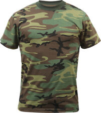 Woodland Camo Tactical T-Shirt Mens Military Army Green Camouflage Short Sleeve