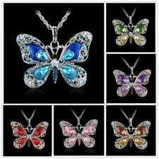 Vintage Colors Butterfly Rhinestone Crystal Chain Necklace Pendant Jewellery New