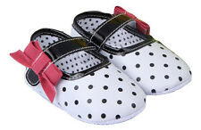 NEW Baby Girl White Black Polka Dot Red Bow Leather Mary Jane Crib Shoes