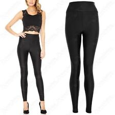 NEW LADIES HIGH WAISTED BLACK SHINY DISCO LEGGINGS STRETCHY FIT WOMENS PANTS