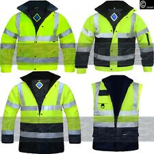 HI VIZ VIS HIGH VISIBILITY BOMBER JACKET PARKA GILET BODY WARMER WATERPROOF COAT