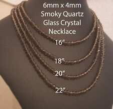 "Smoky Quartz 6mm x 4mm Faceted Glass Crystal Bead Necklace 16"" to 24"" Silver Pla"